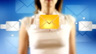 Young Female Touching On Then Email Symbols Appears video