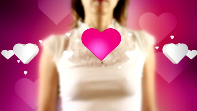 Young Female Touching On Then Love Symbols Appears video