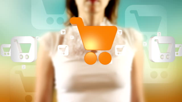 Young Female Touching On Then Shopping Cart Symbols Appears video