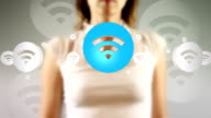 Young Female Touching On Wifi Symbols Appears video