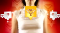 Young Female Touching On Wireless Internet Symbols Appears video