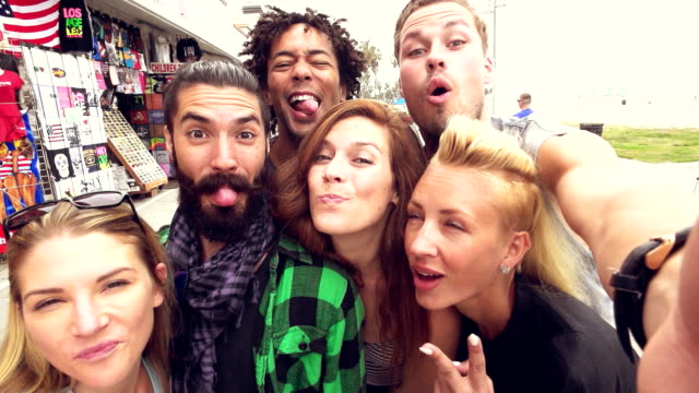SLOW MOTION - Young Friends Fun Selfie at Venice Beach, Los Angeles. video