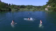 Young friends having fun swimming in river video