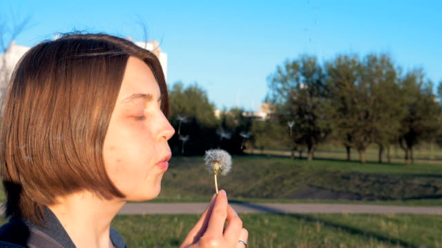 Young girl blows off the dandelion - slowmo 180 fps video