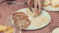 Young girl cut a slice of Italian Cheese on a picnic table cloth video