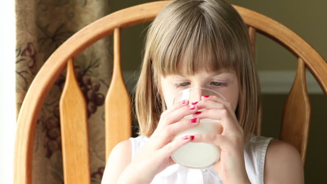 Young Girl Drinking Milk video