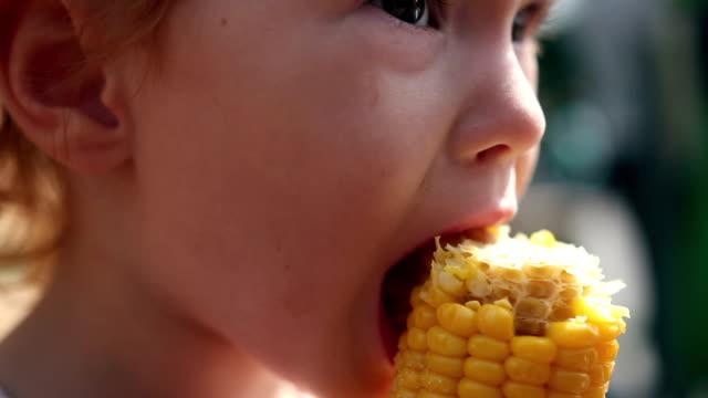 A young girl eats corn off of the cob video
