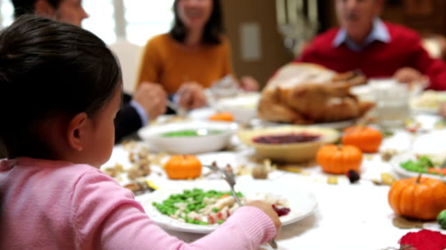 Young Girl Enjoying Family Thanksgiving Dinner video
