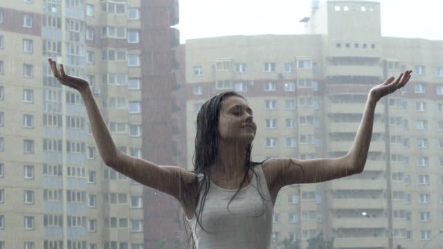 Young Girl Enjoying Rain video