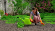 Young girl gardening in the springtime sunshine video