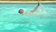 Young Girl Learning Freestyle Swimming Stroke In Outdoor Pool video