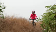 Young Girl Off Road Downhill Cycling video