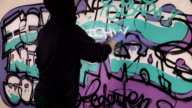 Young girl paints a graffiti on the wall video