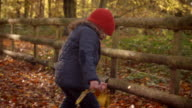 Young Girl Playing With Leaves On Walk In Autumn Countryside video