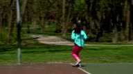 Young Girl Practicing Basketball video