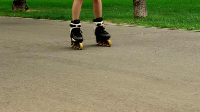 young girl rollerblading on the way video