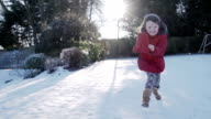 Young Girl Running In The Snow video