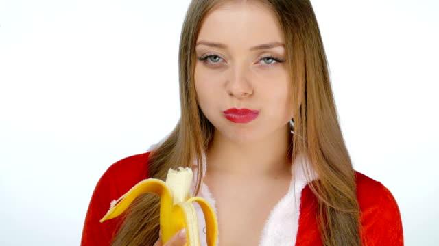 Young girl sexy eating a banana video