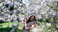 Young girl shaking a blossoming cherry branch in spring orchard and laughing when petals fall down like snowflakes video