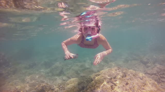 Young girl snorkelling over a shallow reef video