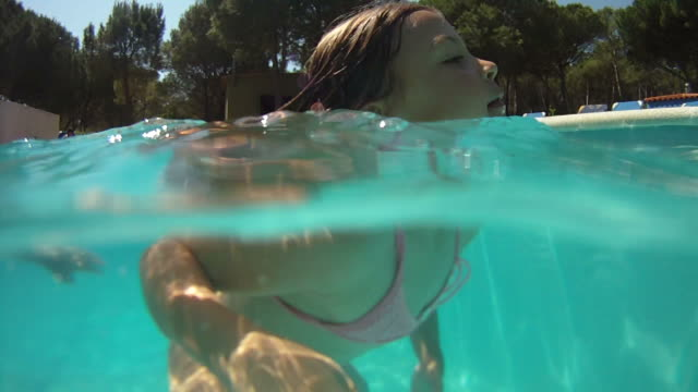 Young girl swimming video