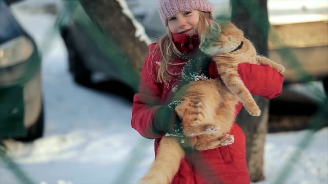 Young girl with a cat on a winter day video