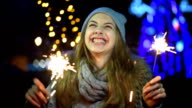 Young girl with a sparkler video