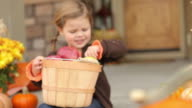 Young girl with basket of apples video