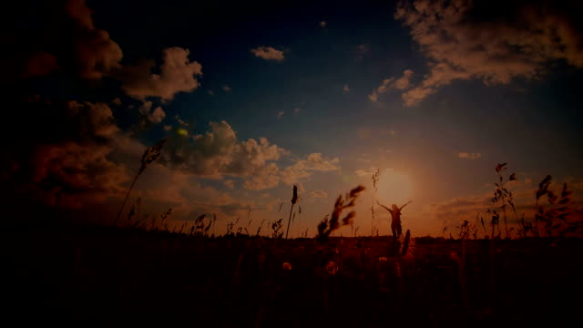 Young girl with outspread hands have fun at sunset in the field video