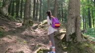 Young girl with tablet computer hiking in the forest video