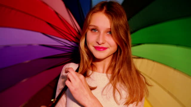 young girl with umbrella video