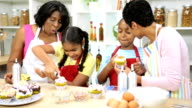Young Girls Baking Kitchen African American Mom Grandmother video