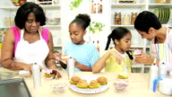 Young Girls Kitchen African American Mother Grandma video