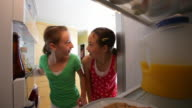 Young girls steal cookies from refrigerator video