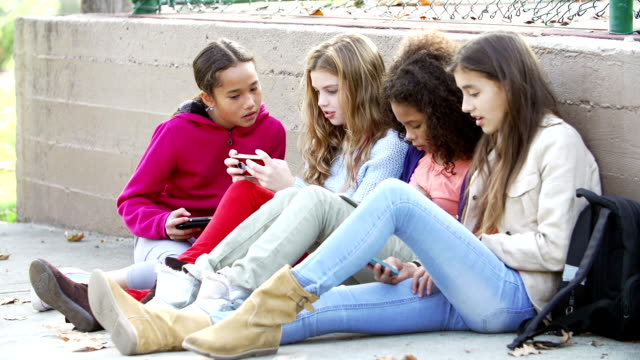 Young Girls Using Digital Tablets And Mobile Phones In Park video