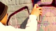 Young Graffiti Artist Paints Wall video