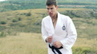 Young handsome sportsman exercising art of taekwondo on the nature. Slowly video