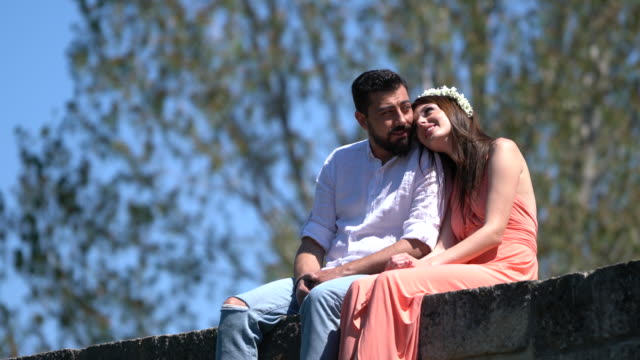 Young happy couple in forest video