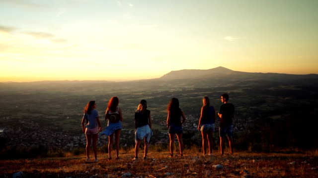 Young hikers enjoy the view video