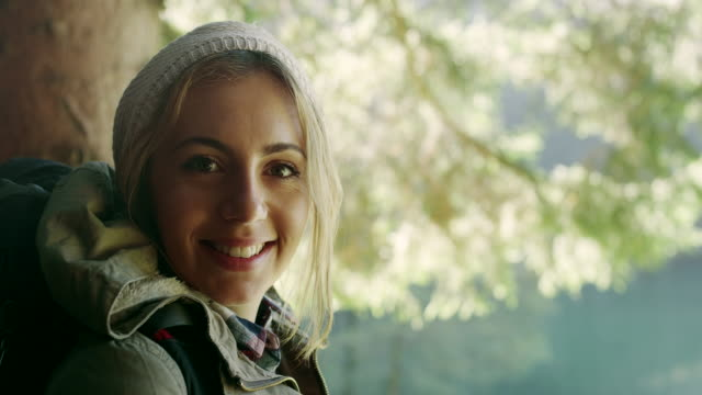 Young hiking woman video