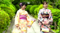 Young Japanese woman in kimono in the park video