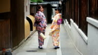 Young Japanese Women Wearing Traditional Kimonos video