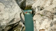 HD: Young Kayaker In The Narrow Canyon video