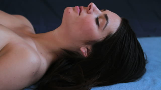 HD: Young lady lays her head down video
