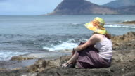 HD: Young lady on jetty video