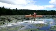 Young Male Kayaking in Lake video