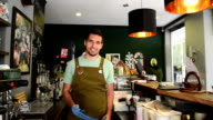 Young man barista video