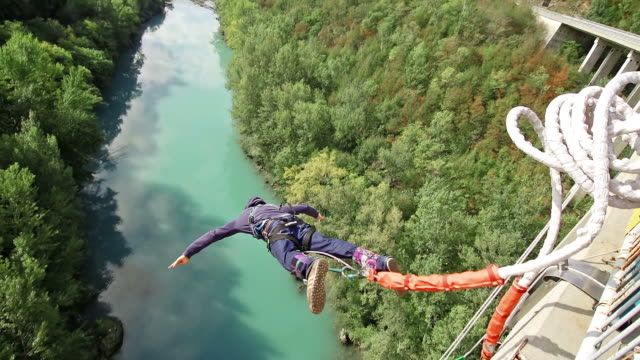 Young man bungee jumping video