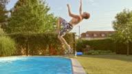 SLO MO TS Young man doing backflip into the pool video