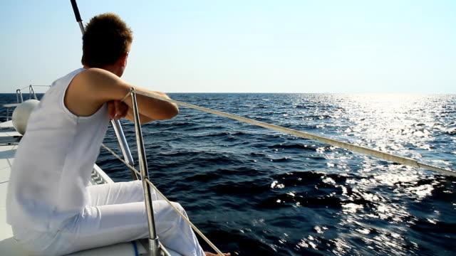 HD: Young Man Enjoying The Sailing video